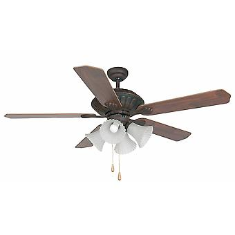 4 Light Large Ceiling Fan Wood, Dark Brown with Light, E27