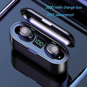 Wireless-earphone Bluetooth-v5.0 F9 Tws Wireless Bluetooth-headphone Led-display 2000mah Charging Box-headsets With Microphone