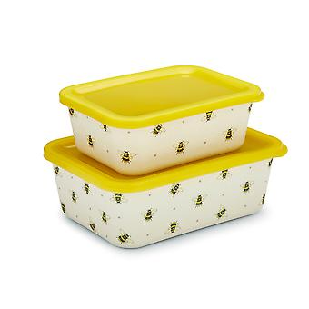 Cooksmart Bumble Bees Bamboo Set of 2 Storage Boxes