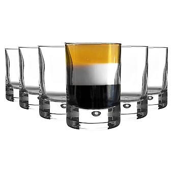 Bormioli Rocco 6 Piece Barglass Shot Glasses Set - Classic Contemporary Glass Shooter Tumblers - Bubble Base - 65ml