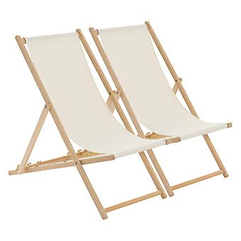 Traditional Adjustable Garden / Beach-style Deck Chair - Cream - Pack of 2
