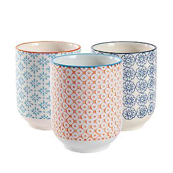 Nicola Spring Set of 6 Hand Printed Porcelain Mugs - Japanese Style Print - 280ml - Multi