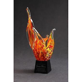 Troféu de vidro - fogo com gravura