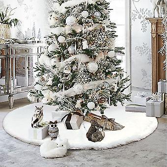 White Christmas Tree Skirt Plush Faux Fur Carpet Xmas Floor Mat Ornaments Merry Christmas New Year Christmas Tree