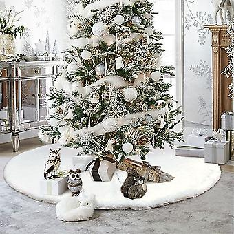 Vit julgran kjol plysch faux päls matta Xmas Golv Mat Ornaments God Jul Nyår Julgran