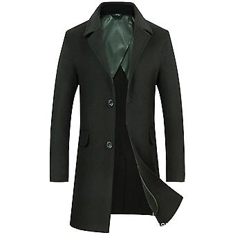 Men's Winter Notched Collar Single Breasted Quilted Wool Midi Coats Plaid