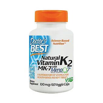 Natural Vitamin K2 MK7 with MenaQ7, 100mcg 60 vegetable capsules