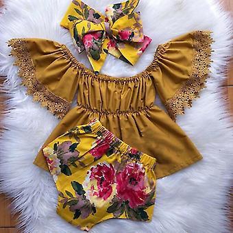 Pasgeboren Baby Peuter Baby Outfits Kleren Uit Schouder Solid Tops Floral