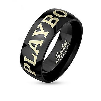 Ring with playboy laser etched black ip stainless steel