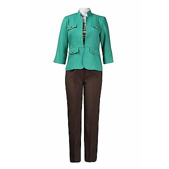 Madison Leigh Multi Stripe Jersey Top Twill Pantaloni Set cu mandarină