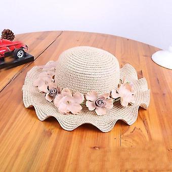 Estate nuovo cappello da sole di paglia con fiori, cappelli di paglia sunbonnet