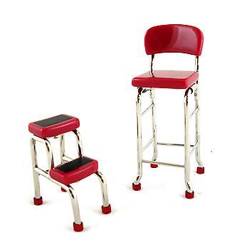 Dolls House Keittiökalusteet Punainen tuoli ja askeljakkara 51
