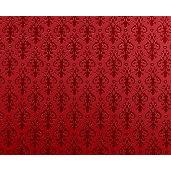 Dolls House Miniature Print Victorian Red On Red Arabesque Wallpaper