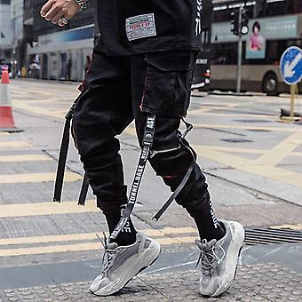 Men Hip Hop Black Cargo Pants, Joggers Sweatpant, Men Ribbons Streetwear Harem