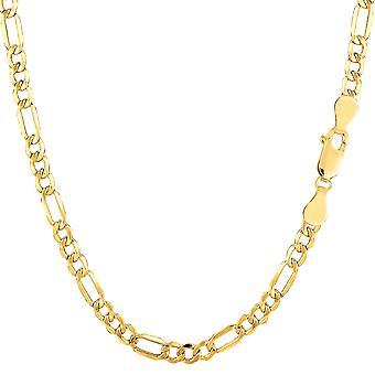 14 ك سلسلة فيجارو أجوف الذهب الأصفر قلادة، 3.5 مم