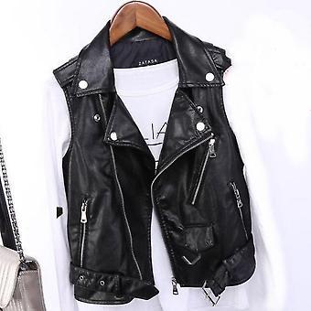 Kožená vesta Dámské, Motocyklový kabát bez rukávů (černá S)