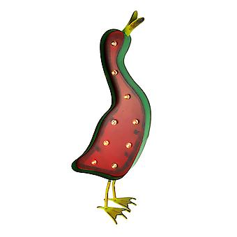 Red and Green Solar LED Marquee Duck Statue