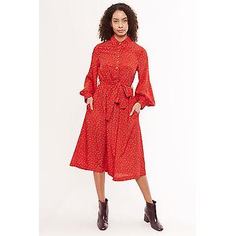 Louche Leonie Double Bud Print Long Sleeve Shirt Dress