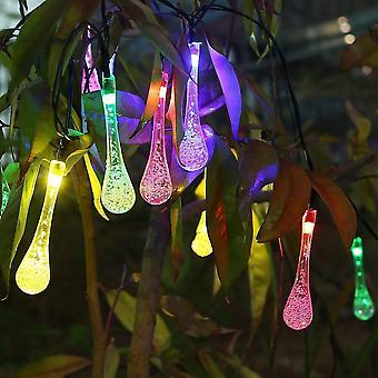 4.8m 20 Led icicle Teardrop Lights Солнечный Питание Raindrop Garden String Lights - Led водонепроницаемые декоративные огни для наружного сада Патио Кристма