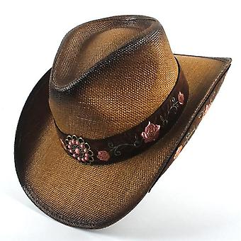 Leather Men Western Cowboy Hat Gentleman Tan Sombrero Hombre Caps Parrain