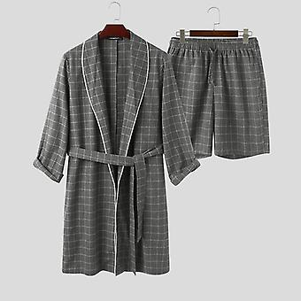 プレイド メン ローブ セット、長袖、ラペル バスローブ ショートパンツ