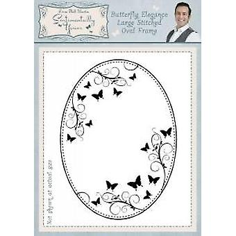 Sentimentally Yours Butterfly Elegance Large Stitched Oval Frame Pre Cut Stamp