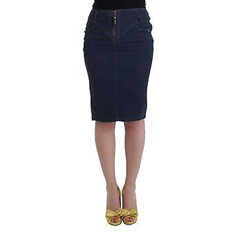 Blue corduroy pencil skirt