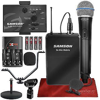 Samson går mic mobil professionellt digitalt trådlöst system med q8 dynamisk handhållen mikrofon / sändare och lm8 lavalier mikrofon och bältespaket ps80979