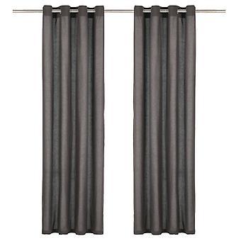 vidaXL rideaux avec œillets en métal 2 pcs coton 140 x 245 cm anthracite