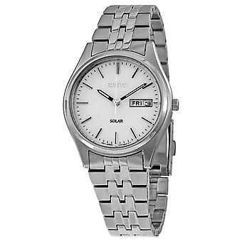 Seiko Solar White Dial Men's Watch SNE031