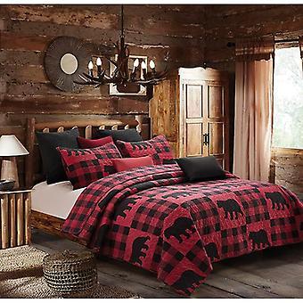 Spura Home Pictorial Buffalo Bear Plaid Red Novelty Quilt Set