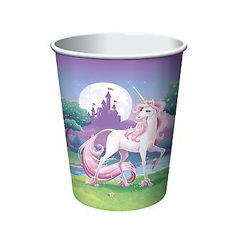 8 Gobelets en carton Licorne magique 256ml
