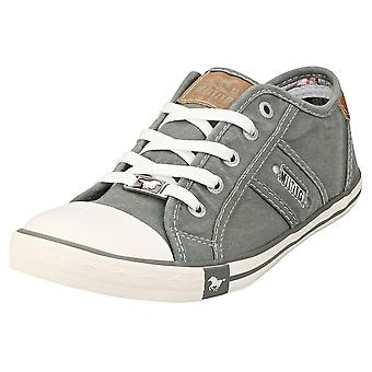 Mustang Lace Up Low Top Womens Casual Trainers in Grey