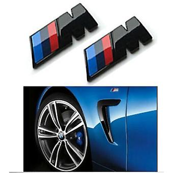 BMW M Sport 45x15mm Emblem Gloss Black Fender Badge Sticker Side Wing Pair All BMW Models