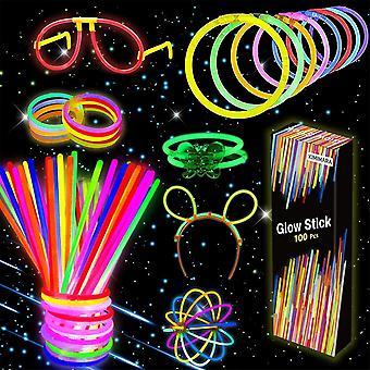 HanFei Knicklichter, 100 Leuchtstbe mit 122 Anschlssen, Verbinder fr Armbnder und ein Brillenset,