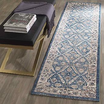 Gerui Alysia Distressed Area Rug, Woven Polypropylene Runner Carpet in Blue / Beige, 62 X 240 cm