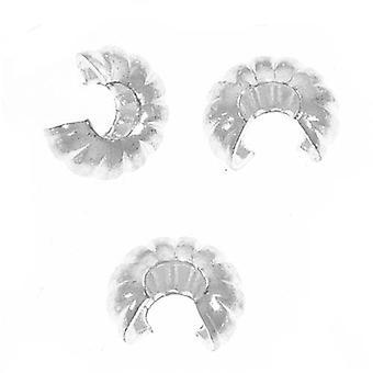 Crimp bead kannet, fluted 4mm, 144 kappaletta, hopea päällystetty
