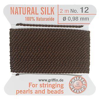 Griffin silke beading ledning og nål, størrelse 12 (0,98mm), 2 meter, brun