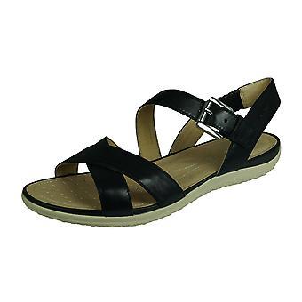 Geox D Sand Vega E Naisten Nahka sandaalit - Musta