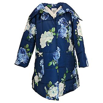 Isaac Mizrahi Live! Women's Quilted Floral Printed Puffer Coat Blue A389389