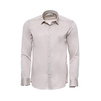 Beige slim-fit long sleeve shirt