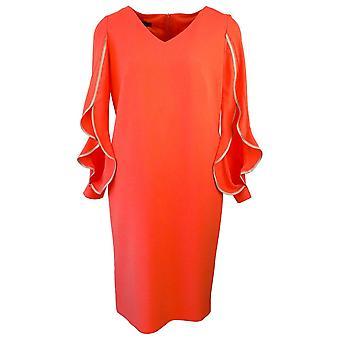 Arggido naranja manga larga aleteo superficial vestido de cuello en V