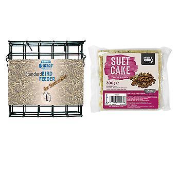1 x Yksinkertaisesti suora tavallinen suet-kakkulohkon syöttölaite maapähkinällä maustetulla suet-kakulla luonnonvarainen lintujen rehu