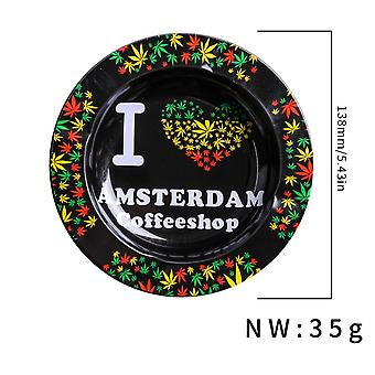 Colored Drawing Tinplate Ashtray Home Party Bar Decoration Ash Holder For Gift Cigarette Smoking