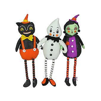 Johanna Parker Pumpkin Peeps Plush Halloween Shelf Sitters Home Decor Set of 3