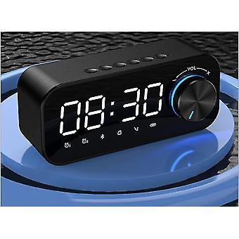 LED بلوتوث مكبر الصوت FM راديو المنبه اللاسلكية مكبرات الصوت الموسيقى (أسود)