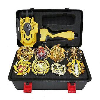 8x Beyblade Burst Gold Gyro Set w/ Grip Launcher