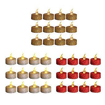 12шт Золотой порошок Свеча Свет Рождество Домашняя вечеринка Атмосфера Декор Лампа Беспламенные свечи