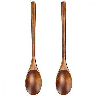 Wooden Spoon, 2pcs Japanese Style Long Handle Spoons For Kitchen Stirring Cooking