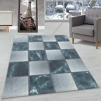 Alfombra de la sala de estar Alfombra de pila corta Azul Gris Patrón cuadrado jaspeado Suave